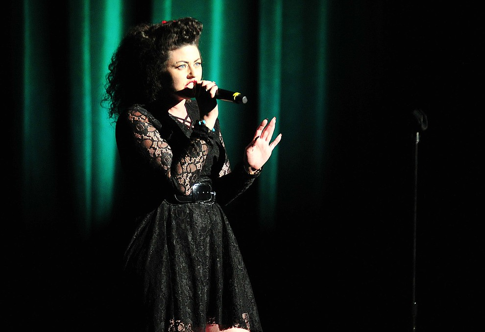 """Lyndsay Cross, from Rim Rock, sings Golddust Woman"""" during the finale of the 2019 Prescott Sings Competition Thursday, Sept. 5, 2019, at the Yavapai College Performing Arts Center in Prescott.  (Les Stukenberg/Courier)"""