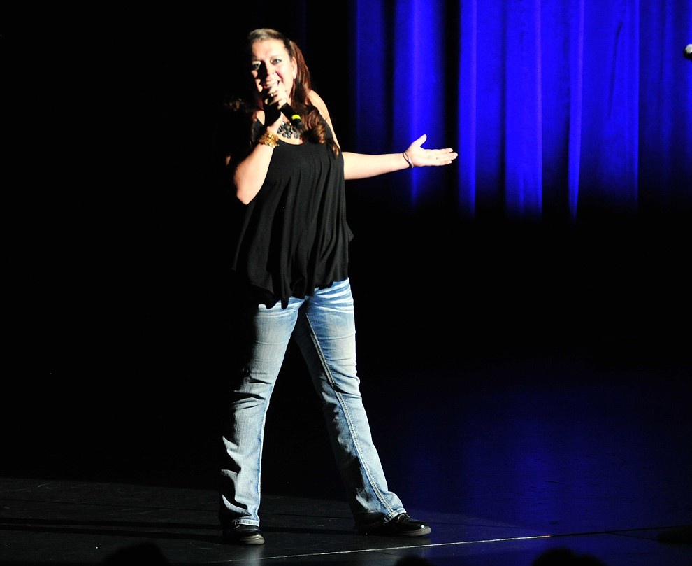 "Julie Malinowski, from Prescott, sings If I Could Turn Back Time"" during the finale of the 2019 Prescott Sings Competition Thursday, Sept. 5, 2019, at the Yavapai College Performing Arts Center in Prescott.  (Les Stukenberg/Courier)"