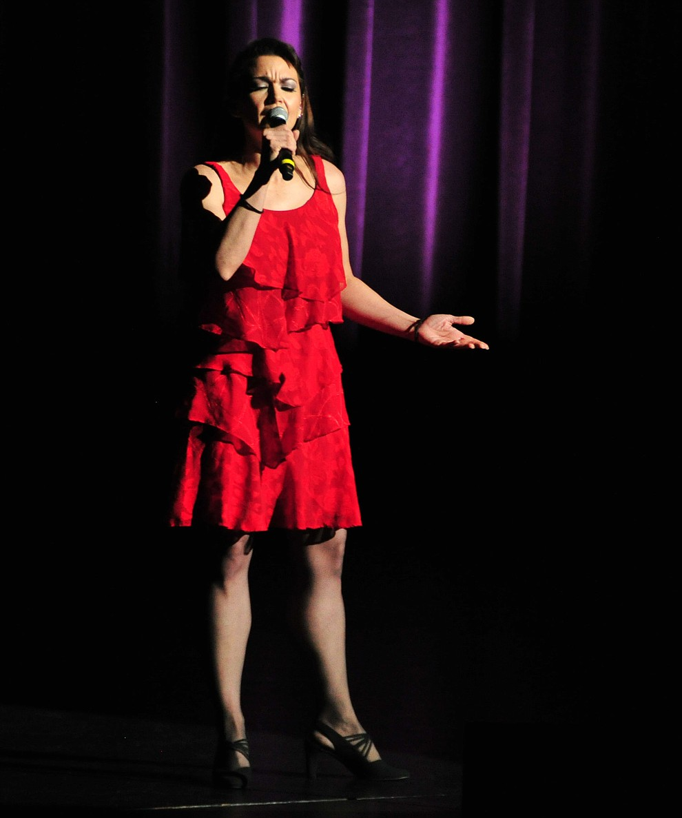 """Prescott's Leah Morales sings """"Crazy"""" during the finale of the 2019 Prescott Sings Competition Thursday, Sept. 5, 2019, at the Yavapai College Performing Arts Center in Prescott.  (Les Stukenberg/Courier)"""