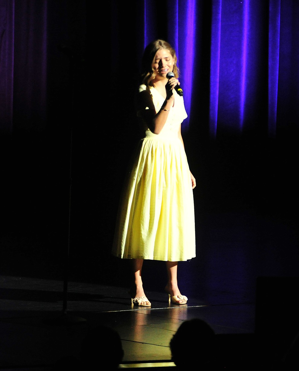 """Prescott's Taylor Geare sings """"Sweet Dreams"""" during the finale of the 2019 Prescott Sings Competition Thursday, Sept. 5, 2019, at the Yavapai College Performing Arts Center in Prescott.  (Les Stukenberg/Courier)"""