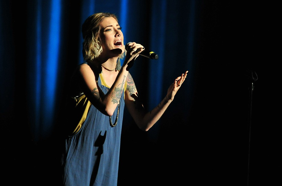 "Prescott Valley's Abigail Kelley sings ""I'll Never Love Again"" during the finale of the 2019 Prescott Sings Competition Thursday, Sept. 5, 2019, at the Yavapai College Performing Arts Center in Prescott.  (Les Stukenberg/Courier)"