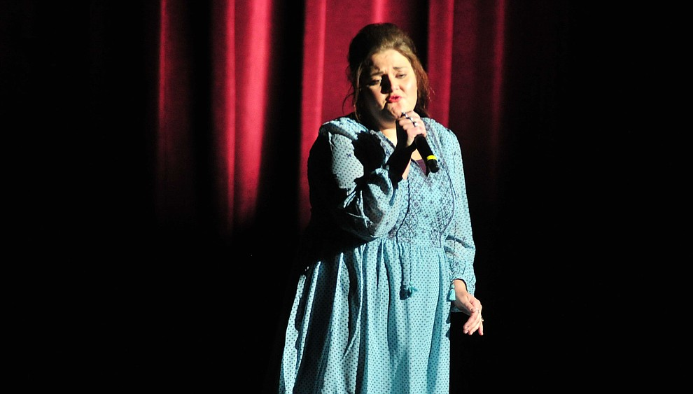 """Ashlaea Brown, from Flagstaff, sings """"I Told You So"""" during the finale of the 2019 Prescott Sings Competition Thursday, Sept. 5, 2019, at the Yavapai College Performing Arts Center in Prescott.  (Les Stukenberg/Courier)"""