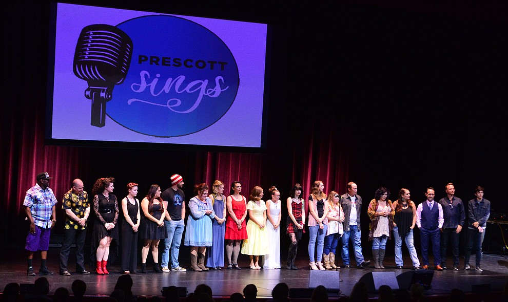 Contestants gather to await the results during the finale of the 2019 Prescott Sings Competition Thursday, Sept. 5, 2019, at the Yavapai College Performing Arts Center in Prescott.  (Les Stukenberg/Courier)