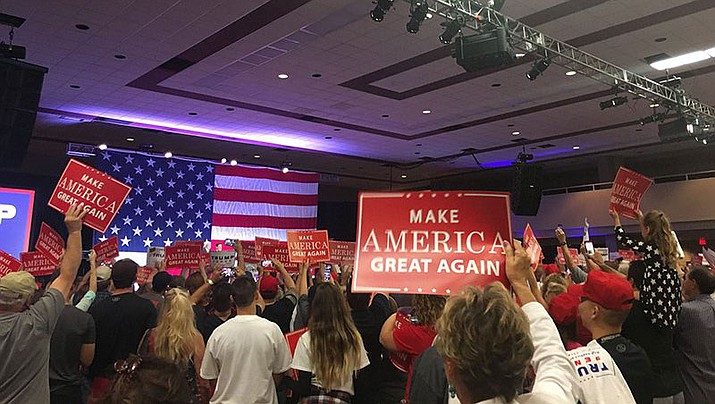 Arizona Republicans rally for the Trump-Pence ticket days before the 2016 election in this file photo. The state GOP may do away with its presidential primary in 2020 so President Donald Trump would not have to go through a primary challence in the state. (Photo by Keerthi Vedantam/Cronkite News)