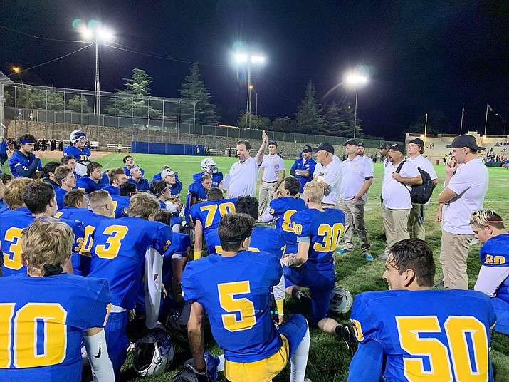 Prescott head coach Cody Collett speaks to his football team after the Badgers beat Moon Valley 48-6 on Friday, Sept. 6, 2019, at Ken Lindley Field in Prescott. (Brian M. Bergner Jr./Courier)
