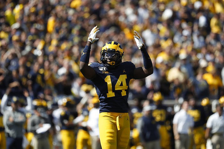 Michigan defensive back Josh Metellus reacts during overtime in a game against Army in Ann Arbor, Mich., Saturday, Sept. 7, 2019. Michigan won 24-21 in double-overtime. (Paul Sancya/AP)