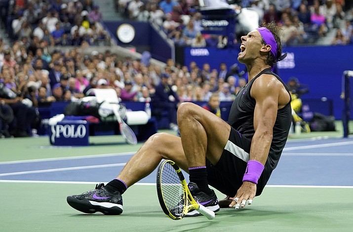 Rafael Nadal, of Spain, reacts after defeating Daniil Medvedev, of Russia, to win the men's singles final of the U.S. Open Sunday, Sept. 8, 2019, in New York. (Eduardo Munoz Alvarez/AP)