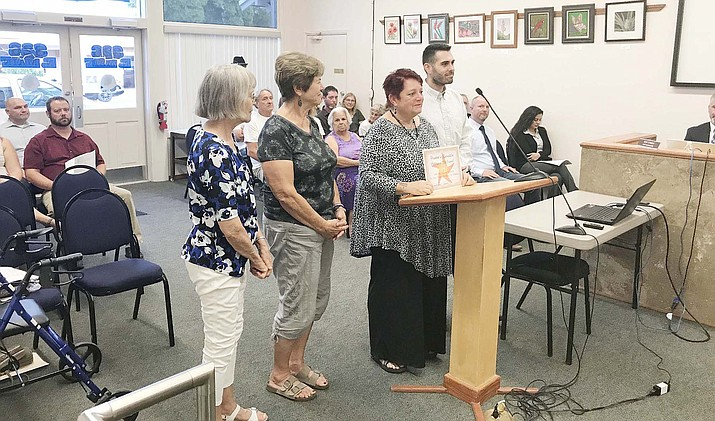 Members of the original Verde Valley Homeless Coalition Board of Directors came to Tuesday's Cottonwood Council meeting to thank the Council for funding one annual cycle of Coalition expenses through a $12,000 CDBG grant. From the left are Joy Mosley, Carol Quasula, Raena Avalon and Ryan Block. VVN photo/ Jason W. Brooks