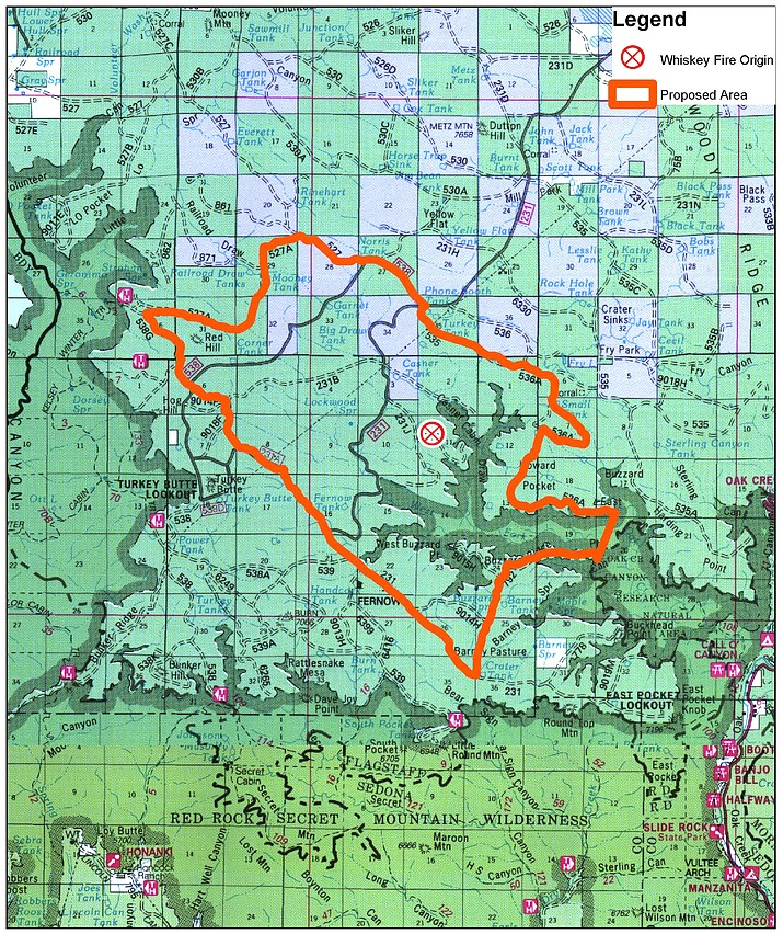 The 105-acre Whiskey Fire is located about 15 miles southwest of Flagstaff and within the footprint of the 2014 Slide Fire. Courtesy Coconino National Forest