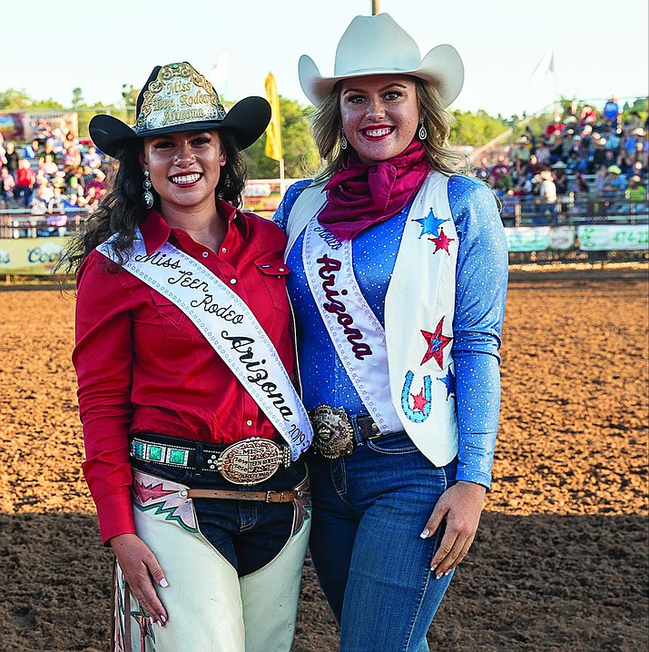 Shai Forman, left, of Prescott was crowned the 2019-20 Miss Teen Rodeo Arizona on Aug. 17, 2019. Also pictured is Mary Norton of Fort Mohave, the 2018-19 Miss Teen Rodeo Arizona. Forman, a student at Tri-City College Prep High School, competed against three other girls in the Miss Rodeo Arizona Pageant at the Payson Rodeo Grounds. Competing in a variety of categories, Forman won in horsemanship, appearance and personality. For more information, visit https://missrodeoarizona.org. (Elise Killian Pitterle/Courtesy)