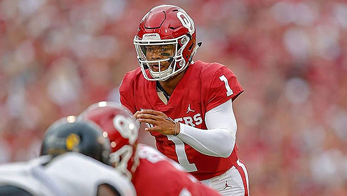Arizona Cardinals quarterback Kyler Murray, shown in action last year for the Oklahoma Sooners, helped lead a Cardinals' comeback on Sunday that netted the team a tie with the Detroit Lions. (Photo courtesy of Oklahoma Athletics)
