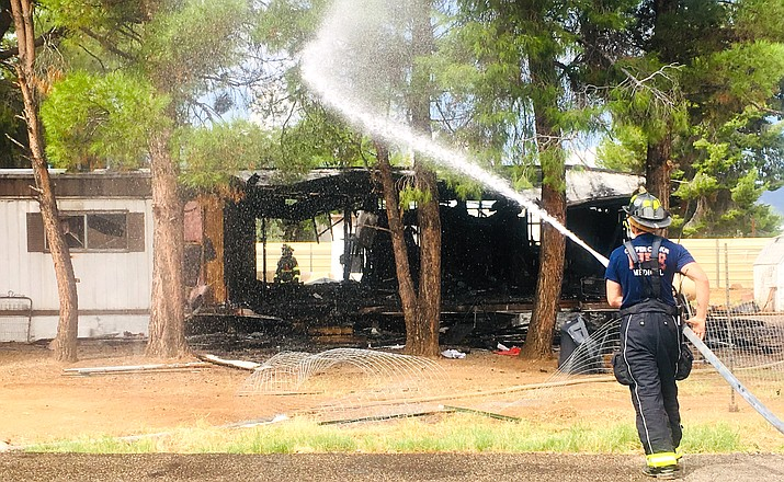 Copper Canyon Fire and Medical responded to a house fire Saturday morning on Mockingbird Lane in Verde Lakes. Although the structure was a total loss, the occupant and her dog were able to escape, uninjured, Copper Canyon Fire Chief Terry Keller said Monday. VVN/Vyto Starinskas