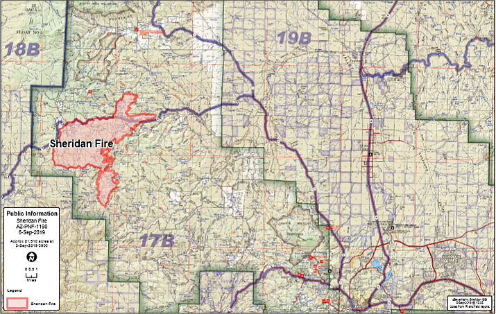 A map showing the perimeter of the Sheridan Fire as of Sept. 9, 2019. (Prescott National Forest/Courtesy)