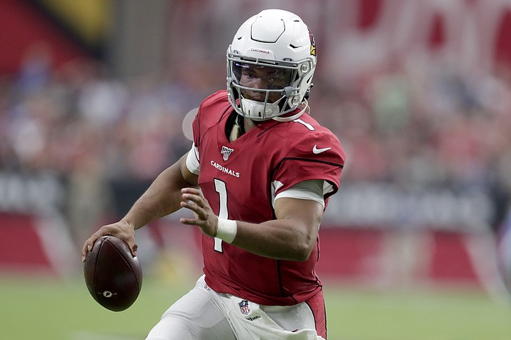 Arizona Cardinals quarterback Kyler Murray (1) scrambles against the Detroit Lions during the first half of an NFL football game, Sunday, Sept. 8, 2019, in Glendale. (Darryl Webb/AP)