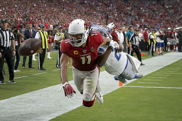 Arizona Cardinals wide receiver Larry Fitzgerald (11) can't make the catch in the end zone as Detroit Lions cornerback Justin Coleman defends during overtime of an NFL football game, Sunday, Sept. 8, 2019, in Glendale. The Lions and Cardinals played to a 27-27 tie in overtime. (Rick Scuteri/AP)