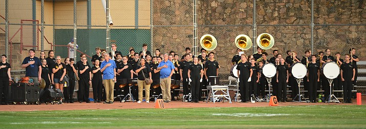 The Pride of Prescott Marching Band prepares to play as the Badgers held their 2019 home opener at Ken Lindley Field Friday, Aug. 30, 2019.  (Les Stukenberg/Courier)