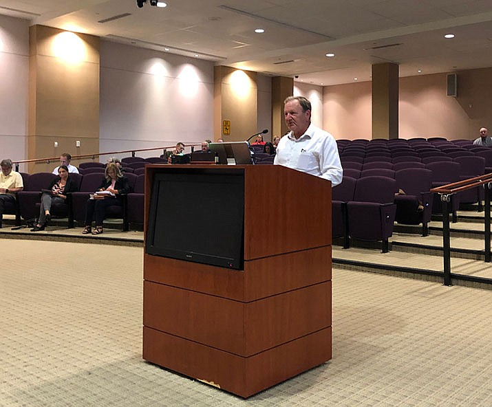 Mohave County Fairgrounds Association Board of Directors Treasurer Don Lynch speaks in front of the Mohave County Board of Supervisors, on Aug. 5. The board will hold a rare meeting in Lake Havasu City next month. (Daily Miner file photo)