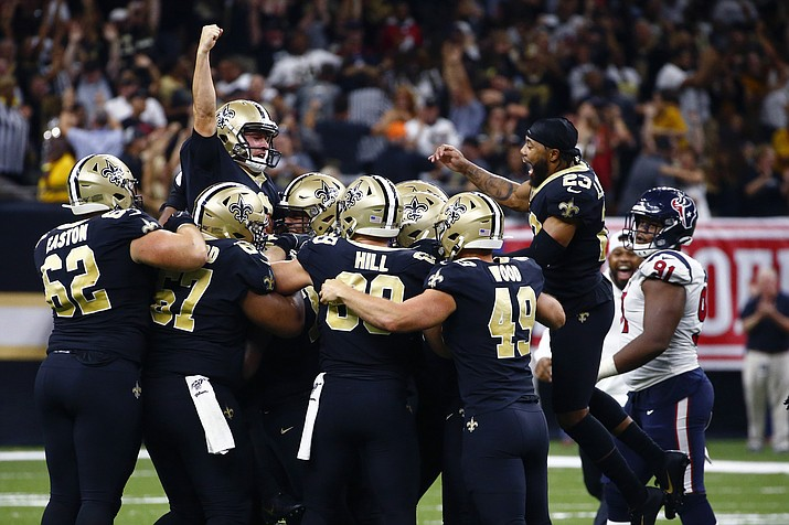 New Orleans Saints kicker Wil Lutz celebrates his game winning 58-yard field goal at the end of regulation in the second half of an NFL football game against the Houston Texans in New Orleans, Monday, Sept. 9, 2019. The Saints won 30-28. (Butch Dill/AP)