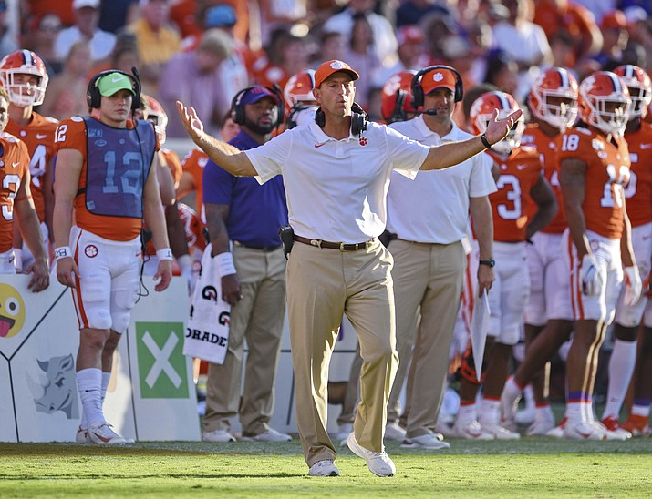 Clemson head coach Dabo Swinney reacts to a call during the second half of an NCAA college football game against Texas A&M Saturday, Sept. 7, 2019, in Clemson, S.C. (Richard Shiro/AP)