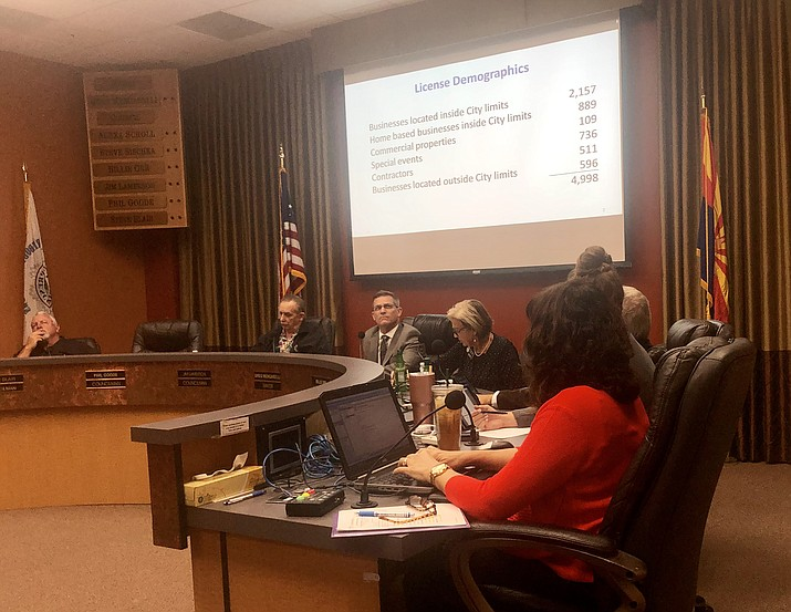 Prescott City Council members listen to a report on the status of the city's business license program during a study session Tuesday, Sept. 10. (Cindy Barks/Courier)