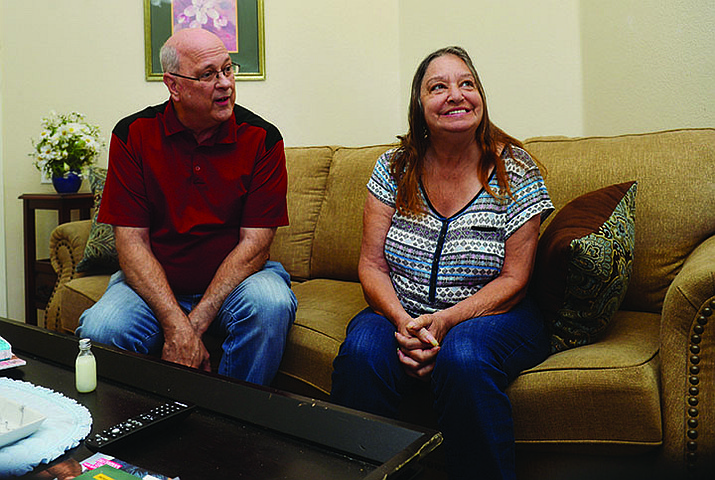 Bert Hunt and Mary Nichol talk on the couch at House of Hope in Prescott Valley Wednesday, Sept. 4, 2019.  (Les Stukenberg/Courier)