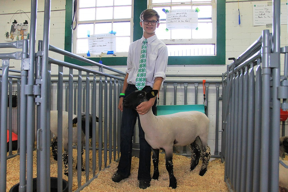 Calton Bowdon poses with his sheep at the Coconino County Fair. (Wendy Howell/WGCN)