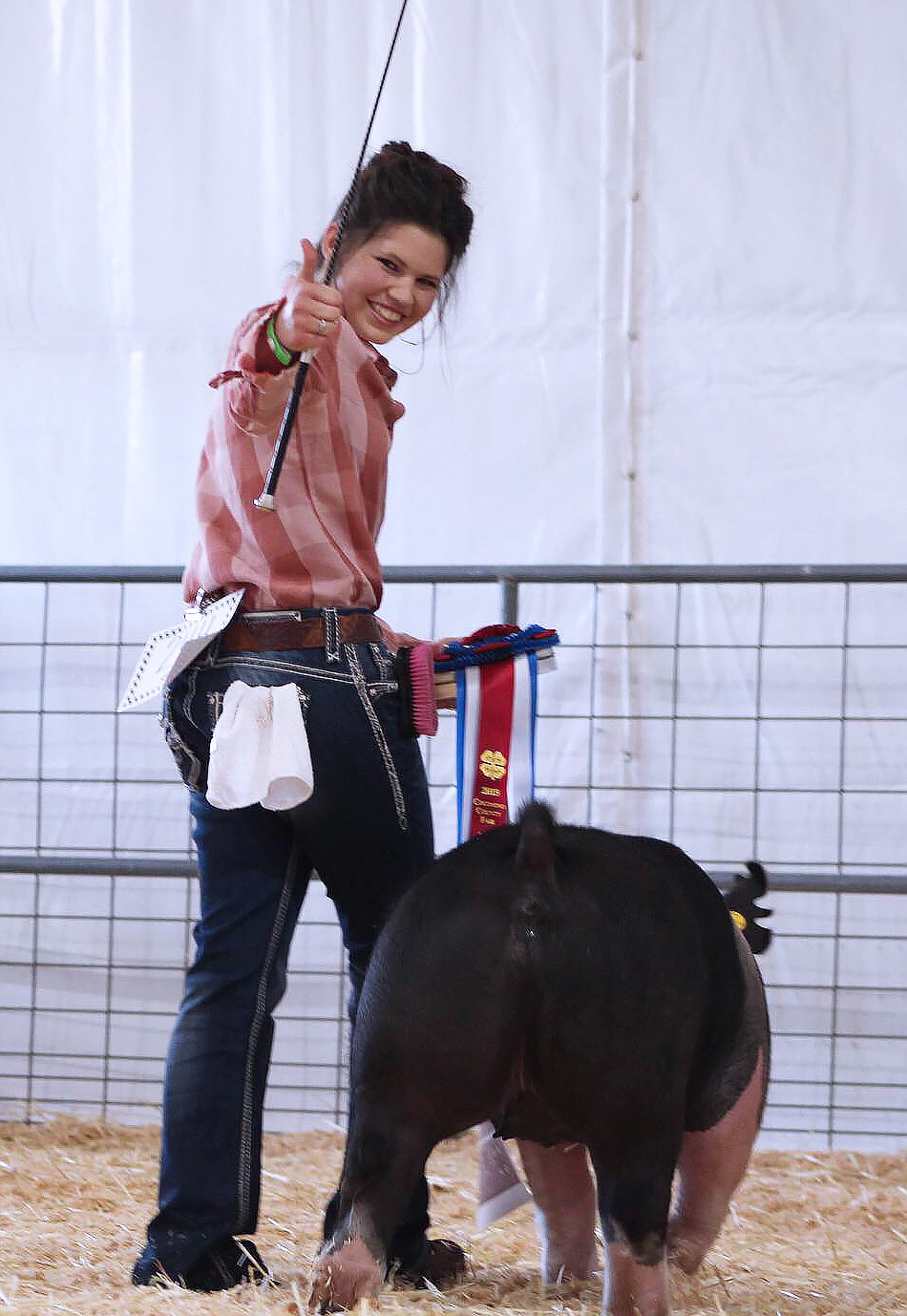 Katherine Westlake receives her Reserve Champion ribbon. (Submitted photo)