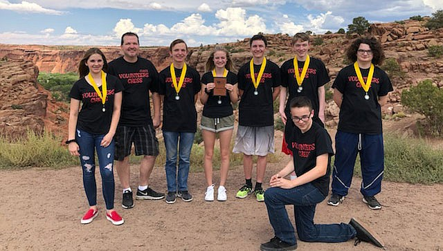 The Lee Williams High School chess team pictured from left: Maya Kaufman, coach Brian Green, Alex Green, Paige Cody, Nick Taflan, Seth Davis, Morgan Osbourne and Blake Martinez. (Courtesy)