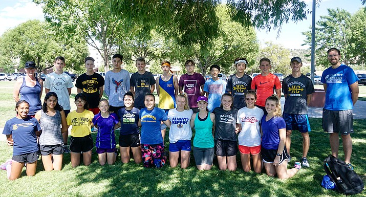 Prescott cross-country poses for a photo before a practice on Thursday, Aug. 15, 2019, at Prescott High School. (Aaron Valdez/Courier)