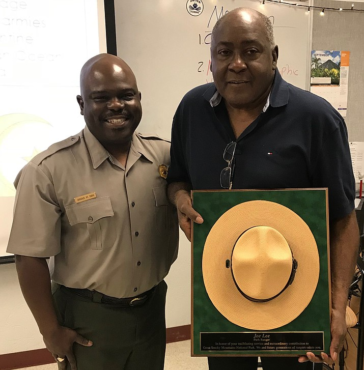 Joe Lee, right, was recognized by Great Smoky Mountain National Park Superintendent Cassius Cash for his 50 years of NPS service. (Photo/NPS)