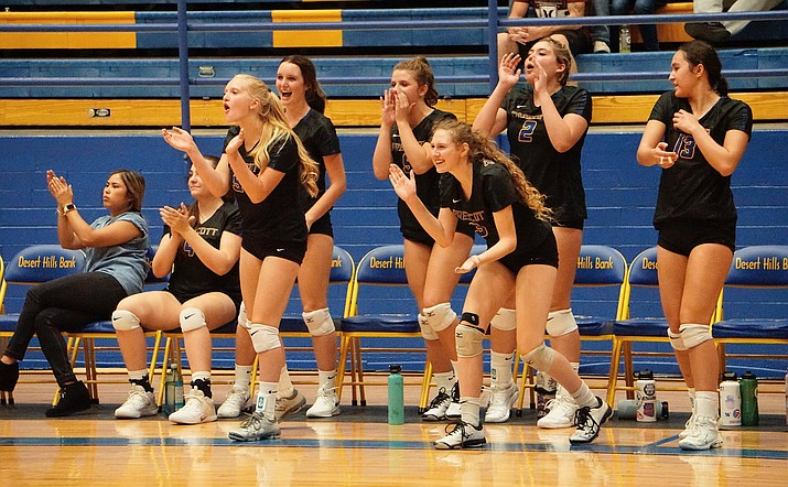 Prescott Volleyball's bench celebrates after the team scored a point during the second set of a game against Shadow Mountain Tuesday, Sept. 10, 2019, at Prescott High School. The Badgers defeated the Matadors 3-1. (Aaron Valdez/Courier)