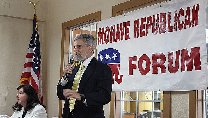 Steve Gaynor, Republican candidate for Arizona Secretary of State, speaks at the Mohave Republican Forum in August 2019. The Arizona GOP will not hold a presidential primary this year. (Daily Miner file photo)