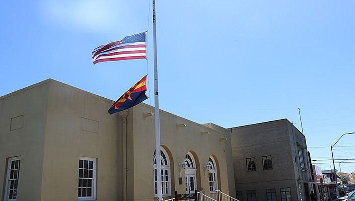 Flags were flying at half-staff at government buildings in Kingman Wednesday in observance of the Sept. 11, 2001 terrorist attacks. (Photo by Travis Rains/Daily Miner)