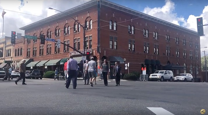 Are those people walking diagonally across Gurley and Montezuma? They are - as part of a test: the Prescott pedestrian scramble. (Cindy Barks/Courier from video)