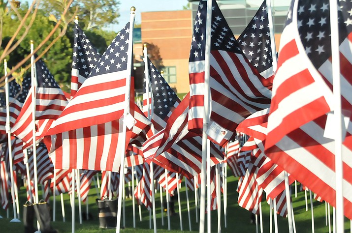 American flags are seen during Wednesday's Healing Field memorial ceremony at the Civic Center in Prescott Valley. (Doug Cook/Courier)