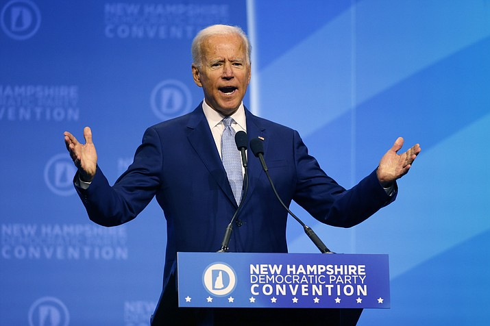 Democratic presidential candidate former Vice President Joe Biden speaks during the New Hampshire state Democratic Party convention, Saturday, Sept. 7, 2019, in Manchester, NH. (Robert F. Bukaty/AP)