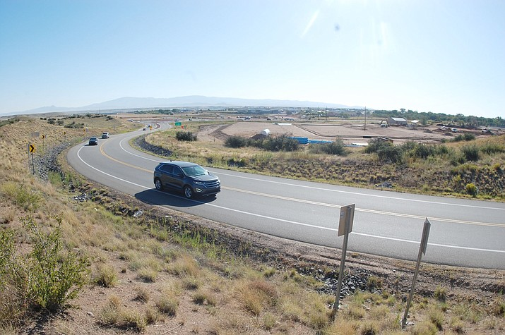 A car drives along Willow Creek Road on an abrupt curve located directly off the Deep Well Ranch Road roundabout on Highway 89. The curve has been a source of concern for local drivers ever since the 2016 opening of the realigned road. (Tim Wiederaenders/Courier)