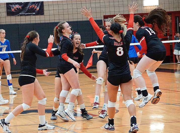 Bradshaw Mountain volleyball celebrates after scoring a point in the third set during the team's 3-0 win over Prescott on Thursday, Sept. 12, 2019, at Bradshaw Mountain High School. (Aaron Valdez/Courier)