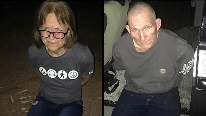 This photo set shows Susan and Blane Barksdale after being captured on Wednesday, Sept. 11, 2019. A tip pointing to a remote Arizona community is what led to the end of a manhunt for the Barksdales, fugitives who overpowered their guards and escaped prison transport last month, authorities said. (Navajo County Sheriff's Office)