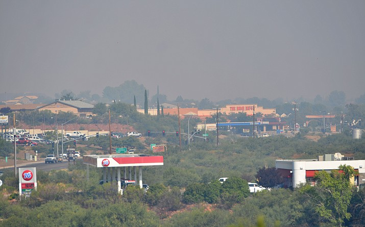 Dense smoke continues to blanket the Verde Valley Friday from the Whiskey Fire located about eight miles west of Turkey Butte Lookout and southwest of Flagstaff. The latest reports are that the fire has grown to 3,500 acroes. VVN/Vyto Starinskas
