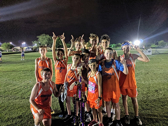 The Heritage Middle School Cross-country team poses for a photo after the boys took first and the girls took fifth at the Desert Solstice Invitational on Friday, Sept. 6, 2019, in Tucson. (Catherine Metz/Courtesy)