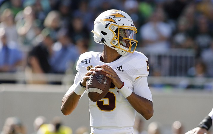 Arizona State quarterback Jayden Daniels looks to throw against Michigan State during the first quarter of a game Saturday, Sept. 14, 2019, in East Lansing, Mich. (Al Goldis/AP)