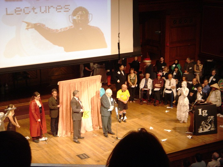 The 2006 Ig Nobel Ceremony at Harvard University is shown. (Photo by Jeff Dlouhy, cc-by-sa-2.0, https://bit.ly/2m851LA)