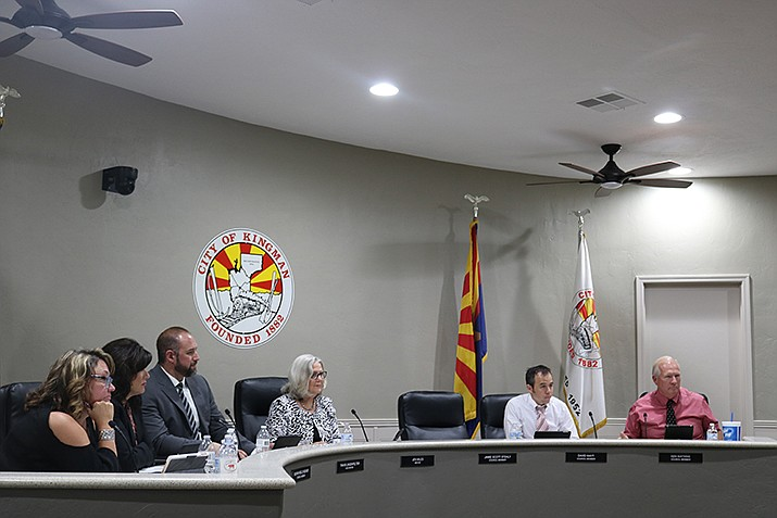 The Kingman City Council is shown in session above. The Rancho Santa Fe interchange will be on the agenda when the council meets at 6 p.m. Tuesday in the council chambers at 310 N. Fourth St. (Daily Miner file photo)