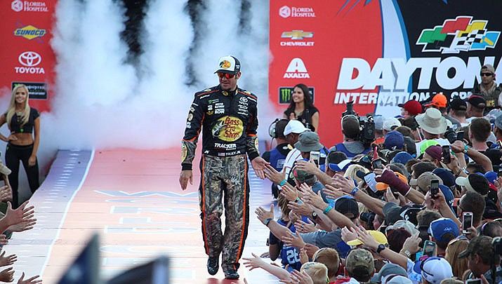 Martin Truex won the opening NASCAR Cup playoff race on Sunday in Las Vegas. (Photo by Chad Sparkes, by-cc-sa-2.0, https://bit.ly/2mcajFU)