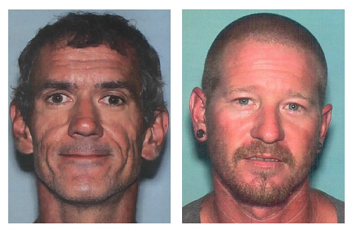 Authorities from the Yavapai County Sheriff's Office issued two flyers late Monday, Sept. 16, 2019, as they search for two men in the county. Adam Predin, left, and Dustin Michael Morris have been missing since this weekend. Anyone with information about these two subjects are encouraged to call YCSO at 928-771-3260, or if you see them, call 911. (YCSO/Courtesy)