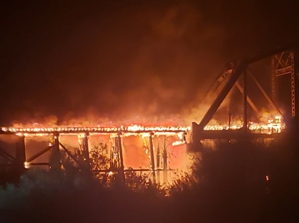 111-year-old railroad bridge over Colorado River burns in Parker