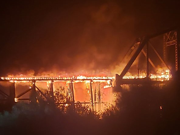 The Arizona and California Railroad's bridge over the Colorado River at Parker caught fire Saturday night, Sept. 14, 2019. (Today's News-Herald, Emily Panuco/Courtesy)