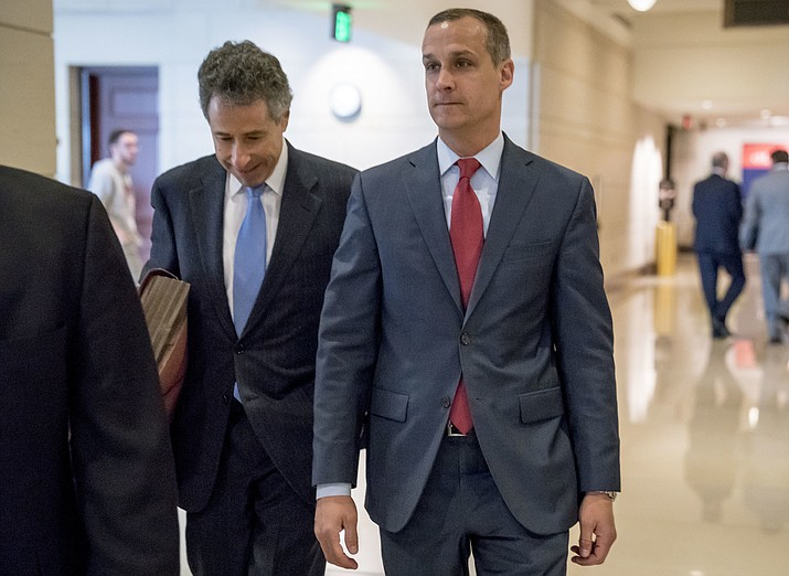 In this March 8, 2019, file photo, President Donald Trump's former campaign manager Corey Lewandowski, right, and his lawyer Peter Chavkin, left, arrive to meet behind closed doors with the House Intelligence Committee, at the Capitol in Washington. Lewandowski, is expected to testify publicly before the House Judiciary Committee on Tuesday, Sept. 17, in what the panel is labeling its first official impeachment hearing. (Andrew Harnik/AP)