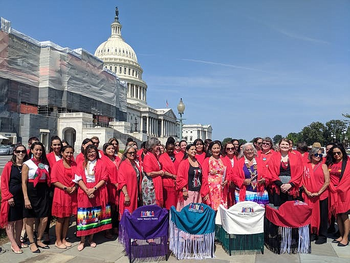People braved the heat and humidity on a summer Washington day to celebrate the act, as well as to honor victims of domestic violence and Missing and Murdered Indigenous Women. (Photo/Kolby KickingWoman via Indian Country Today)